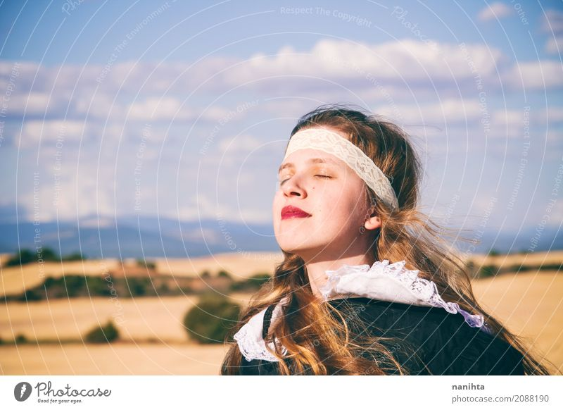 Young woman wearing vintage clothes is breathing outdoors Wellness Life Harmonious Well-being Senses Relaxation Calm Human being Feminine Youth (Young adults) 1