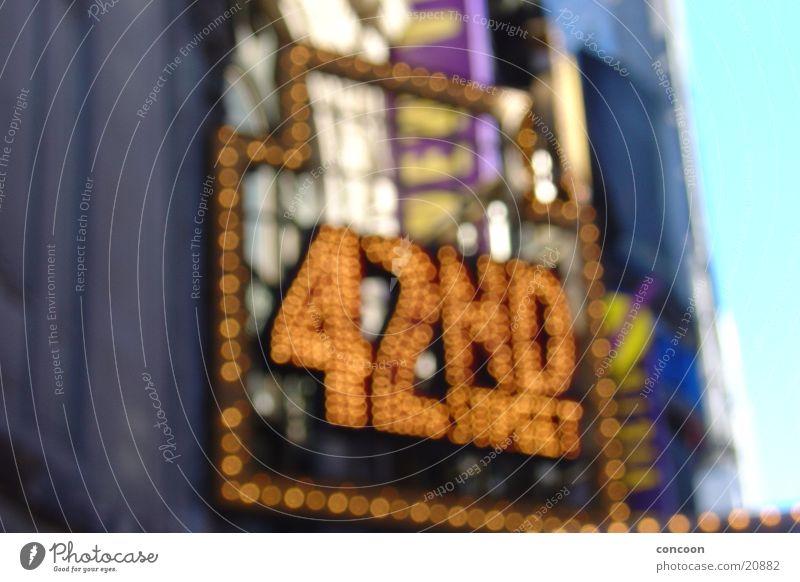 42nd Street on Broadway New York City Neon sign Multicoloured Musical USA Stage play Blur City light Billboard Lighting Illuminate Neon light