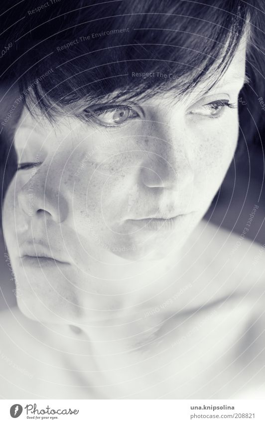 Woman Youth (Young adults) Beautiful Adults Feminine Think Dream Healthy Young woman Skin 18 - 30 years Double exposure Fantasy Freckles Black & white photo