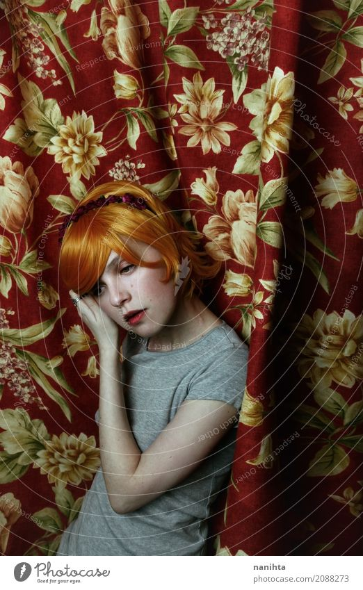Young redhead woman posing with a curtains as background Human being Youth (Young adults) Old Young woman Beautiful Red Relaxation Calm 18 - 30 years Adults
