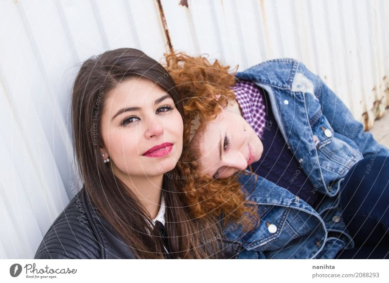 Two young woman enjoy the day together Lifestyle Beautiful Wellness Well-being Relaxation Feminine Young woman Youth (Young adults) Friendship Couple 2
