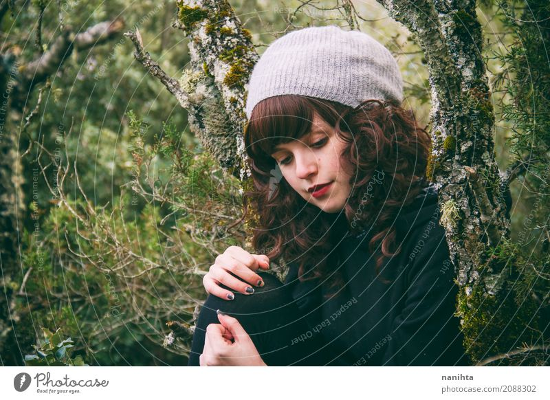 Young brunette woman into the woods Human being Nature Youth (Young adults) Young woman Beautiful Green Relaxation Calm Forest 18 - 30 years Black Adults