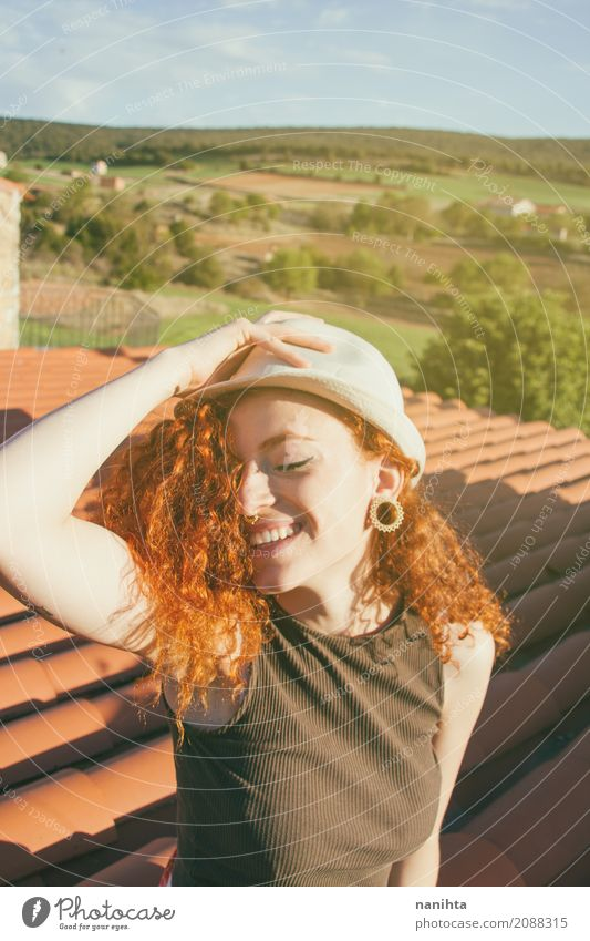 Young redhead woman enjoying a sunny day in a rural place Human being Vacation & Travel Youth (Young adults) Young woman Summer Beautiful Sun 18 - 30 years