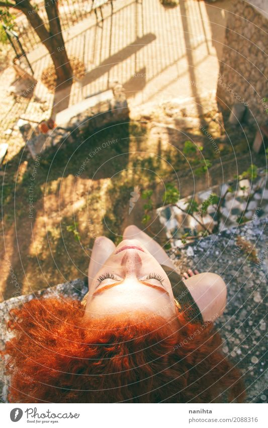 High view of a young redhead woman portrait Lifestyle Exotic Joy Healthy Wellness Harmonious Relaxation Calm Meditation Vacation & Travel Freedom Summer Sun