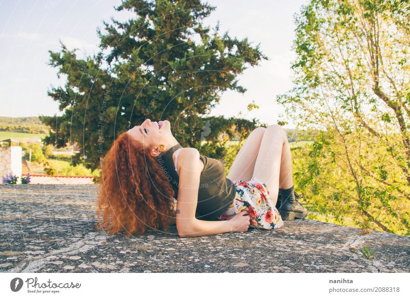 Young and happy redhead woman outdoors Human being Nature Vacation & Travel Youth (Young adults) Young woman Summer Green Tree Joy 18 - 30 years Adults Life