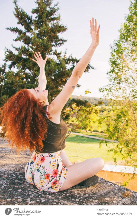 Young redhead woman raising her arms Human being Nature Vacation & Travel Youth (Young adults) Young woman Summer Tree Landscape Relaxation Forest 18 - 30 years