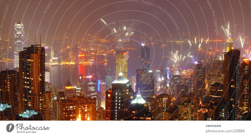Colour Success Large High-rise Energy industry China Firecracker Skyline Narrow Panorama (Format) Hongkong Impressive Laser show