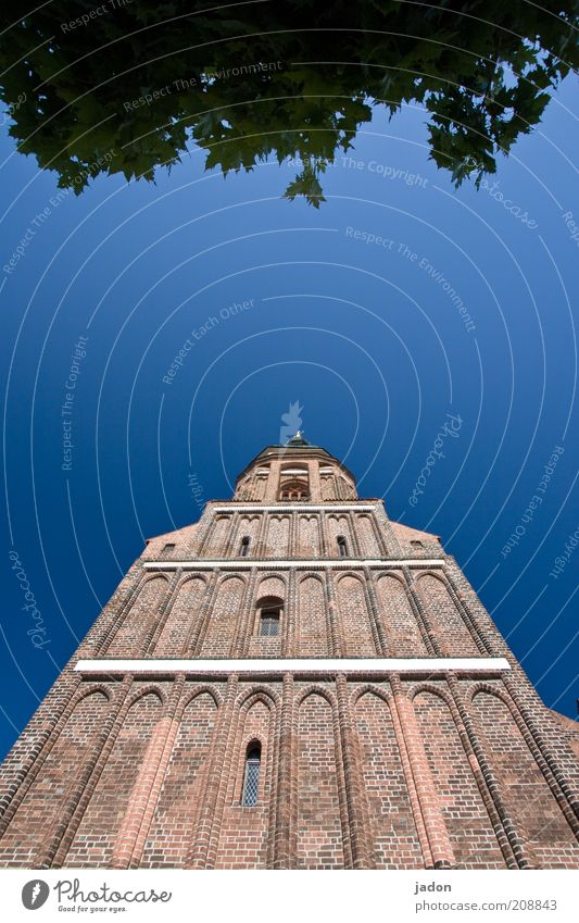 Old Sky Blue Wall (building) Window Architecture Tall Facade Church Tower Brick Blue sky Wide angle Church spire Auburn