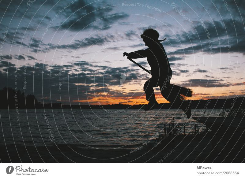 little witch Human being Child 1 Landscape Sunrise Sunset Summer Weather Beach Flying Jump Witch Broom Effortless Dusk Lake Waves Magic Aviation