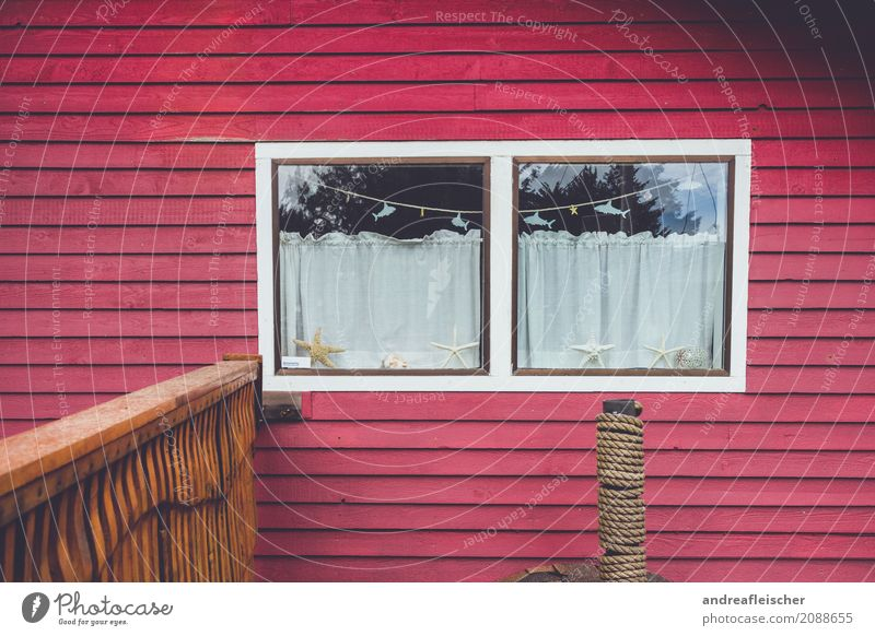 Beautiful Red House (Residential Structure) Window Facade Fish Handrail Village Balcony Hut Mediterranean Small Town Curtain Detached house Vacation home