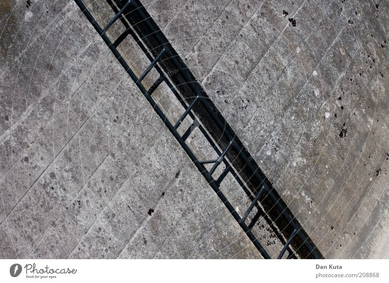 Gray Stone Building Metal Dirty Concrete Tall Stairs Adventure Gloomy Level Climbing Upward Ascending Ladder