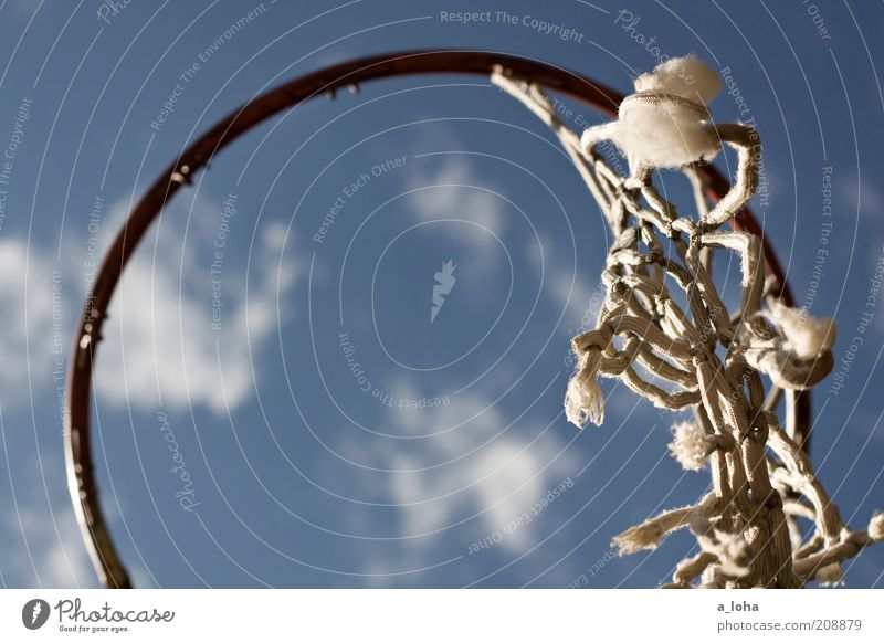 The last remnant Leisure and hobbies Ball sports Basketball basket Sky Clouds Beautiful weather Metal Knot Net Hang Old Broken Above Round Blue Colour photo