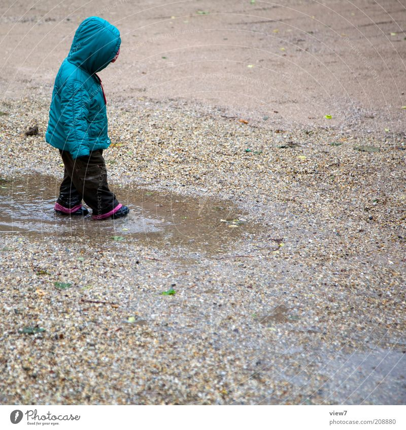 Finger small ... Playing Human being Child Toddler Girl 1 1 - 3 years Water Summer Climate Bad weather Rain Observe Discover Make Uniqueness Wet Positive Puddle