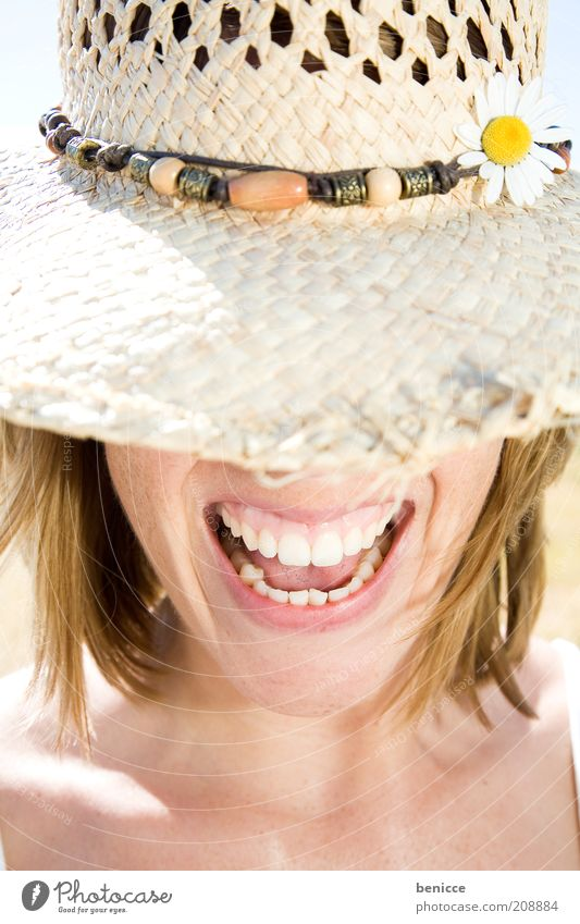 Woman Human being White Summer Joy Laughter Mouth Teeth Set of teeth Scream Hat Hide Smiling Anonymous Attractive Animal