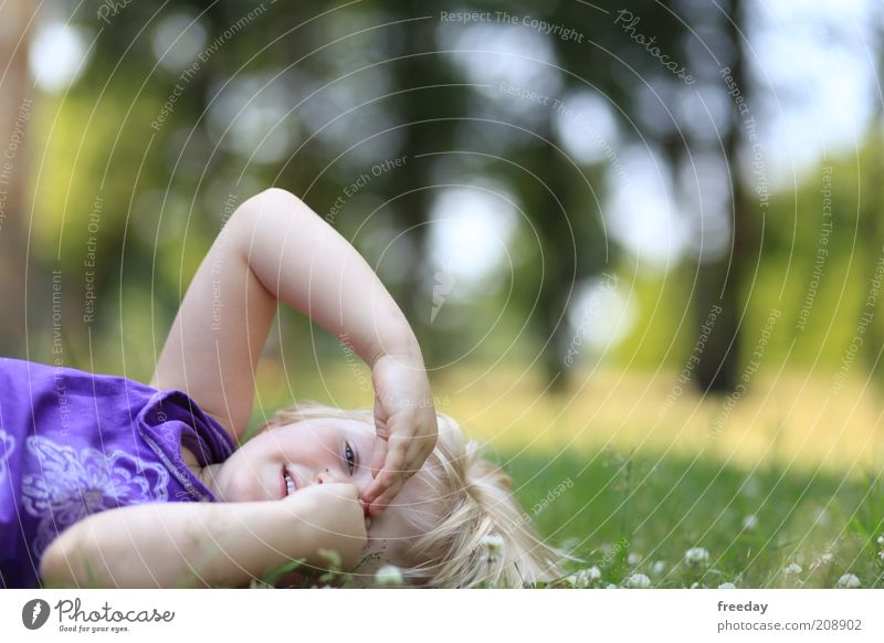 the house from... Life Child Girl Infancy Face Arm Hand Fingers 3 - 8 years Nature Landscape Garden Park Meadow Dress Hair and hairstyles Blonde Lie Funny Joy