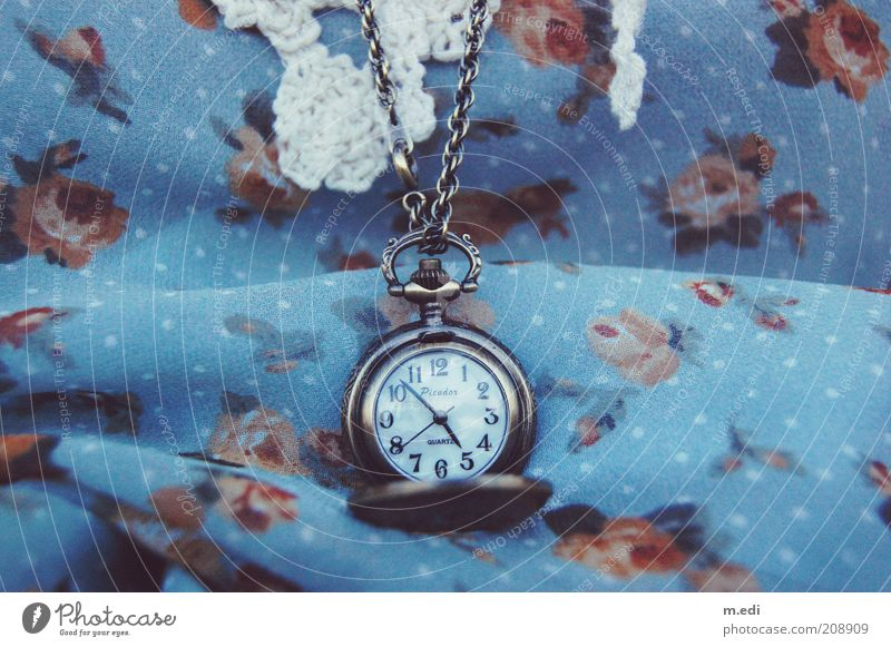 the clock is ticking Cloth Flowery pattern Accessory Necklace Fob watch Old Vintage Colour photo Exterior shot Close-up Detail Antique Antiquarian
