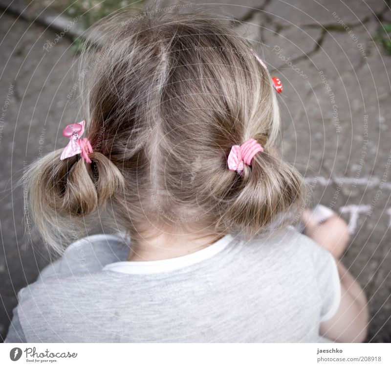 Child with chalk Toddler Girl Head Hair and hairstyles 1 Human being 3 - 8 years Infancy Draw Playing Patient Calm Concentrate Brooch Pink Chalk