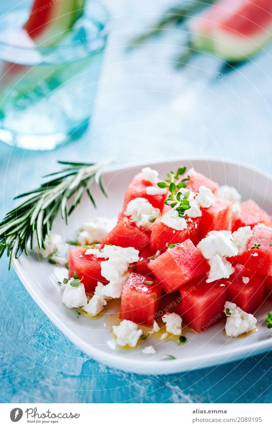 Watermelon-Feta Salad Water melon feta Feta cheese Summer Healthy Eating Dish Food photograph Lettuce Herbs and spices Summery To enjoy Fruity Cheese Hearty