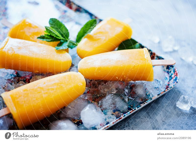 Popsicles: Mango-Banana-Coconut Milk Ice cream ice on a stick coconut milk Fruity Summer Hot Cold Healthy Eating Dish Food photograph Refreshment Delicious