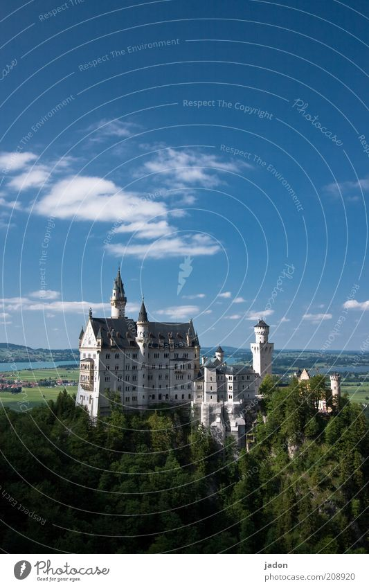 ludvig in the sky Dream house Historic Decadence Tourism Fairytale castle Castle Neuschwanstein Tourist Attraction Exterior shot Copy Space top Day Wide angle