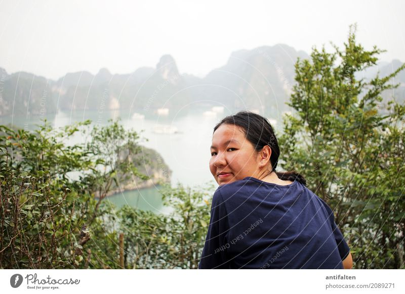 Human being Nature Vacation & Travel Youth (Young adults) Young woman Landscape Ocean Joy Far-off places 18 - 30 years Mountain Face Adults Life Natural Coast