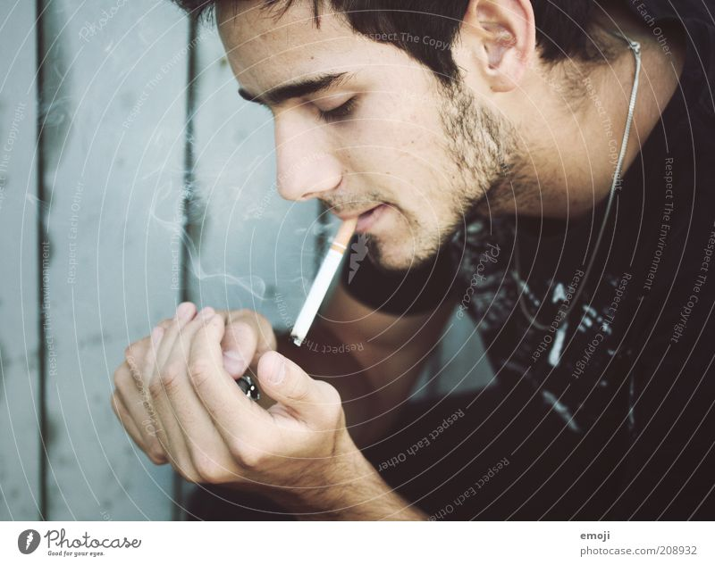 Human being Hand Youth (Young adults) Beautiful Blue Face Head Adults Masculine Cool (slang) Smoking Uniqueness Smoke Cigarette Profile