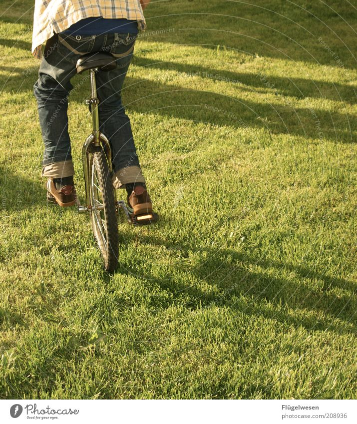 Summer Joy Sports Meadow Playing Grass Legs Bicycle Power Lifestyle Jeans Driving Lawn Leisure and hobbies Cycling Balance