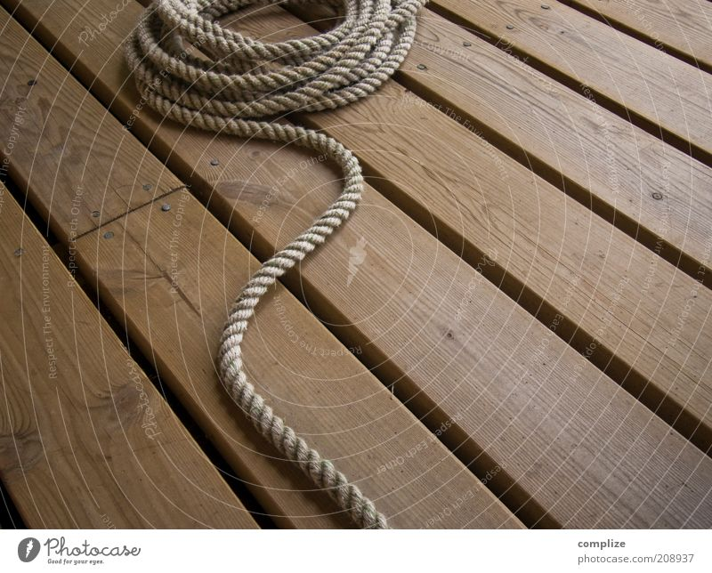 sailor Leisure and hobbies Vacation & Travel Wood Rope Plank Colour photo Exterior shot Detail Wooden floor Pattern Brown Strick rope Boating trip