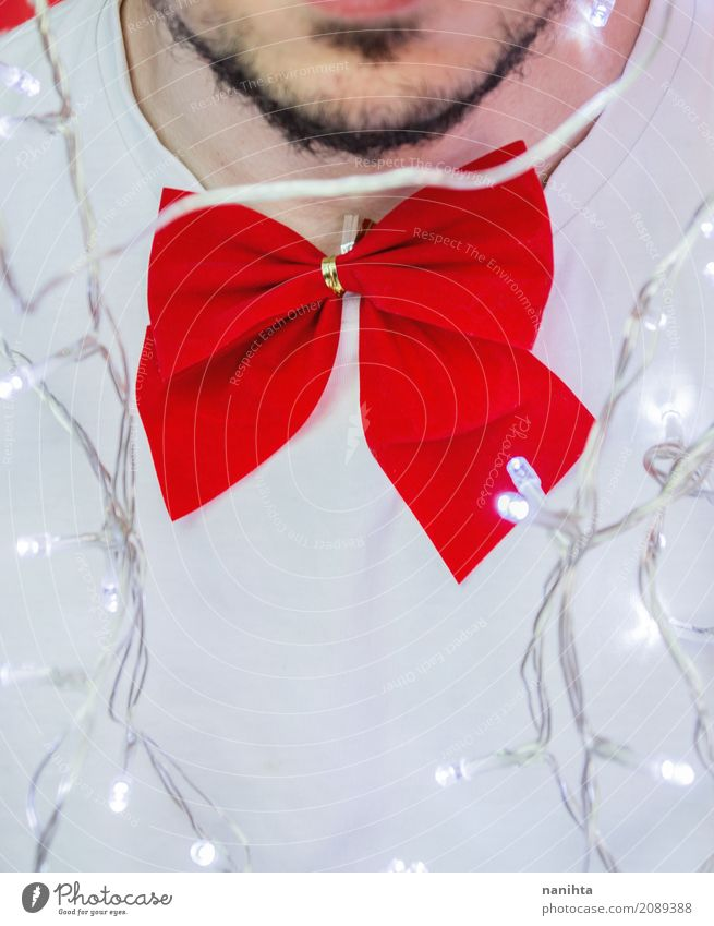 Close up of a man wearing a red bow tie Human being Youth (Young adults) Christmas & Advent Young man White Red 18 - 30 years Adults Lifestyle Funny Style Happy