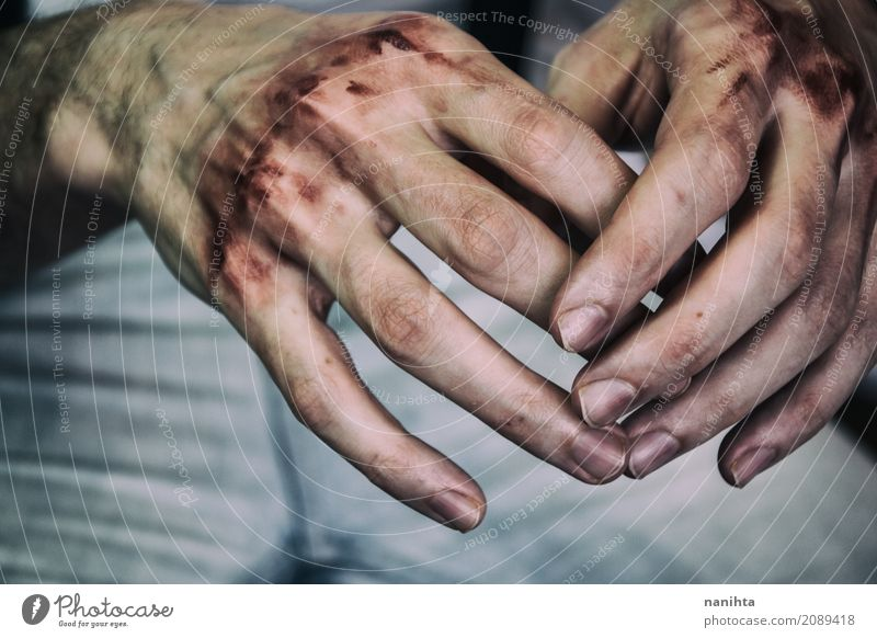 Young man hands with blood in his knuckles Human being Youth (Young adults) Hand Relaxation 18 - 30 years Adults Sadness Emotions Health care Moody Wild