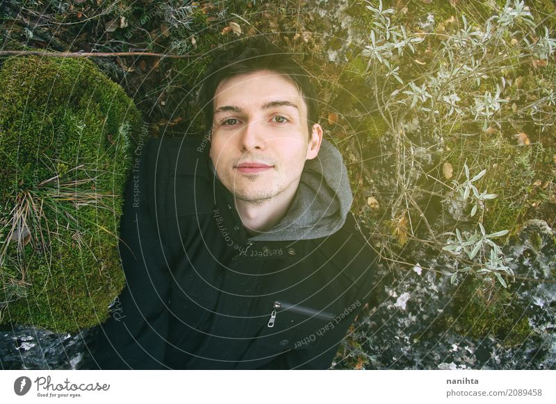 Young man lying in nature Lifestyle Vacation & Travel Adventure Freedom Human being Masculine Youth (Young adults) 1 18 - 30 years Adults Environment Nature