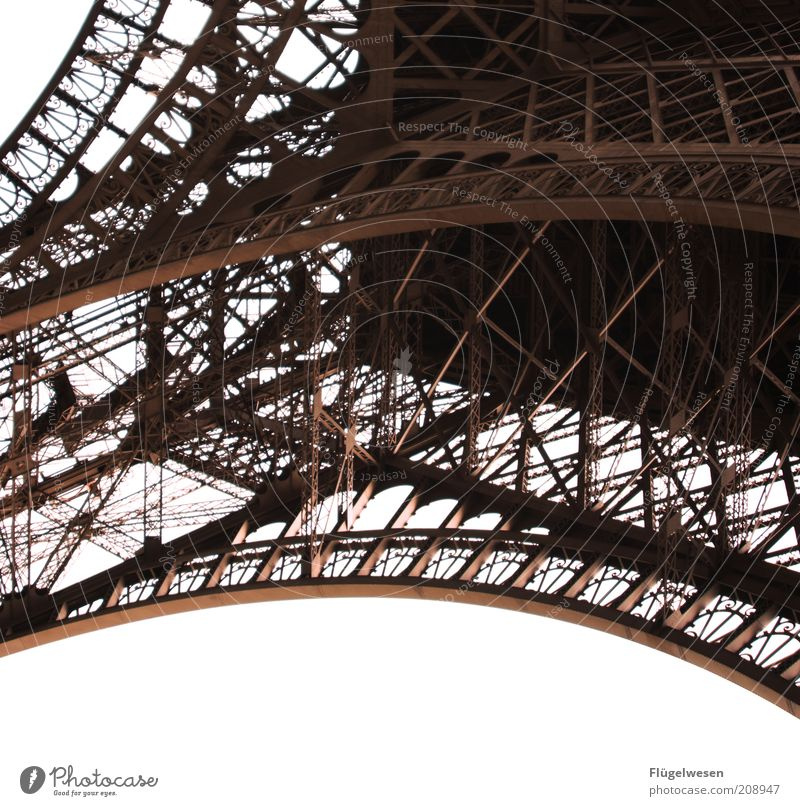 Pähriss Capital city Architecture Tourist Attraction Landmark Eiffel Tower Steel Paris France Framework Scaffolding Colour photo Exterior shot Deserted