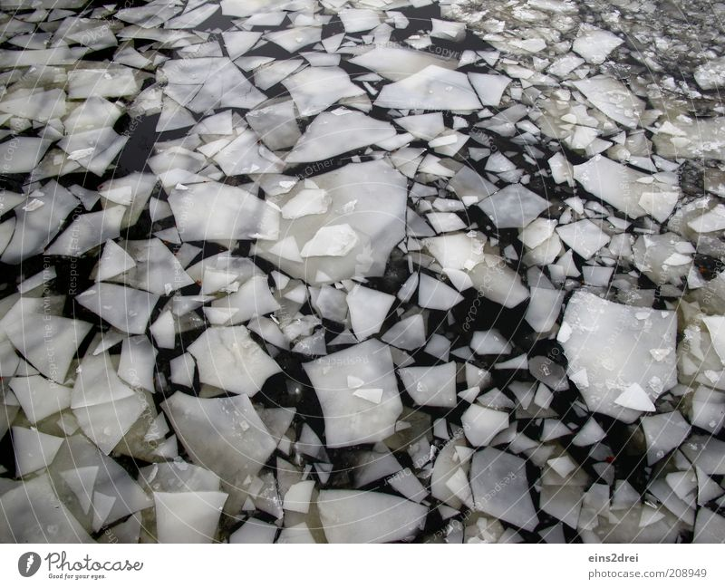 ice age Winter Environment Elements Water Climate Climate change Weather River Sharp-edged Firm Fluid Cold Wet Black White Bizarre Chaos Ice floe Colour photo