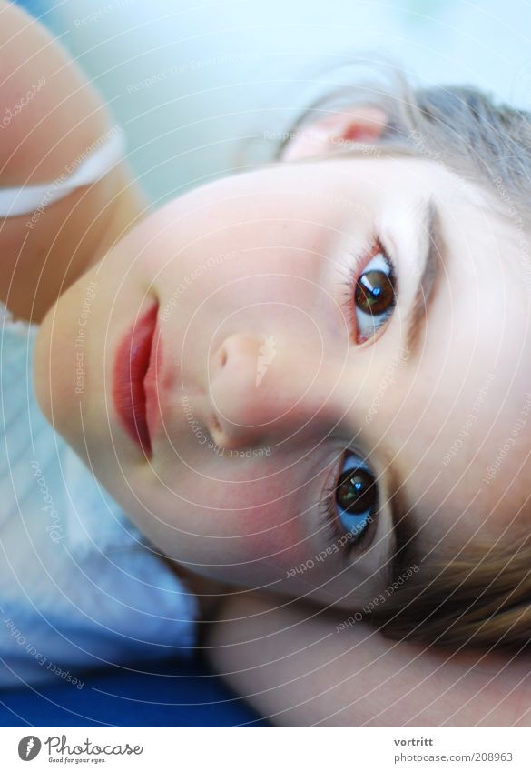 instant Elegant Human being Child Girl Eyes 1 3 - 8 years Infancy Dress Brunette Lie Looking Beautiful Soft Blue White Purity Colour photo Exterior shot Day