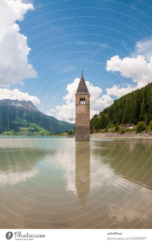 Broken flooded. Environment Nature Landscape Sky Clouds Summer Beautiful weather Forest Hill Alps Mountain Lake Church Tower Tourist Attraction Landmark