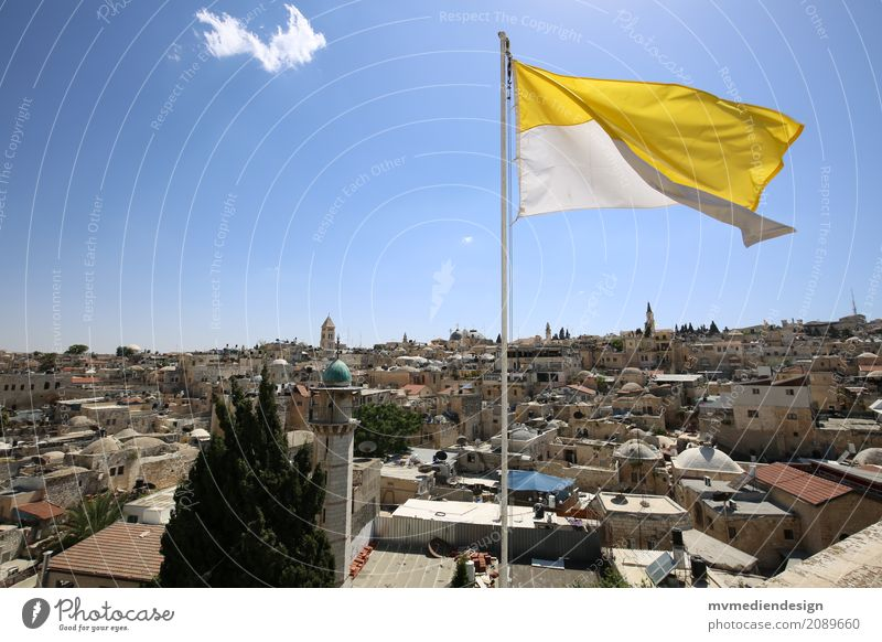 View over Jerusalem Lifestyle Vacation & Travel Flag West Jerusalem Israel Old town Minaret Judaism Christianity Colour photo East Jerusalem
