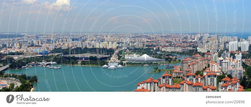 Summer in Singapore (Panorama) Town Ocean Physics Thailand Los Angeles Suntec City Review blue water sea of houses Blue sky Warmth