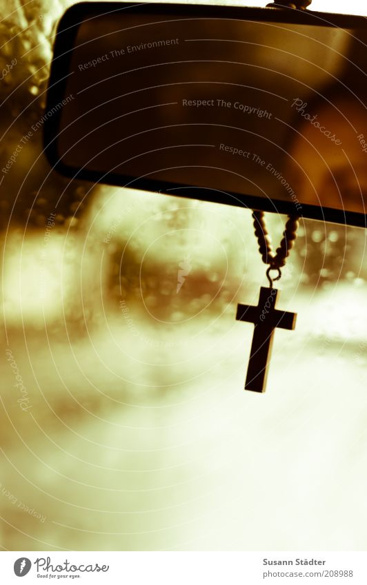 On a dark desert highway Head Transport Means of transport Traffic infrastructure Road traffic Street Lanes & trails Crucifix Belief God Protection Chain