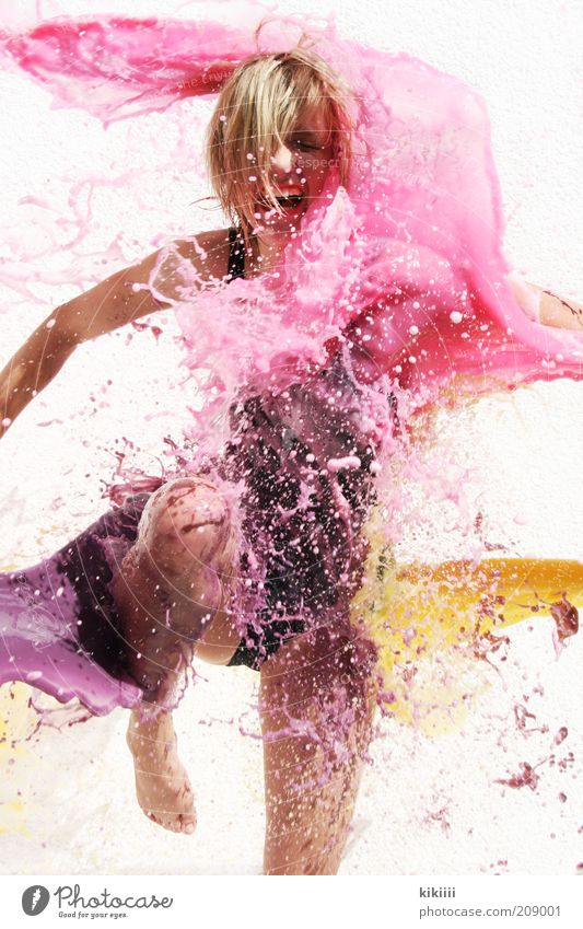 Human being Woman Youth (Young adults) Water White Colour Black Yellow Feminine Movement Dye Jump Blonde Pink Wet Drop