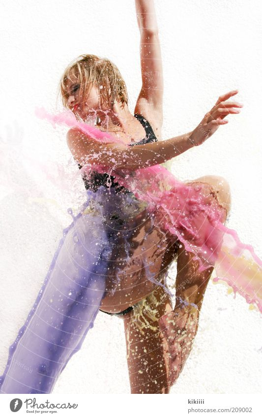 Human being Youth (Young adults) Water White Beautiful Black Feminine Movement Dye Healthy Blonde Dance Pink Wet Drop Young woman