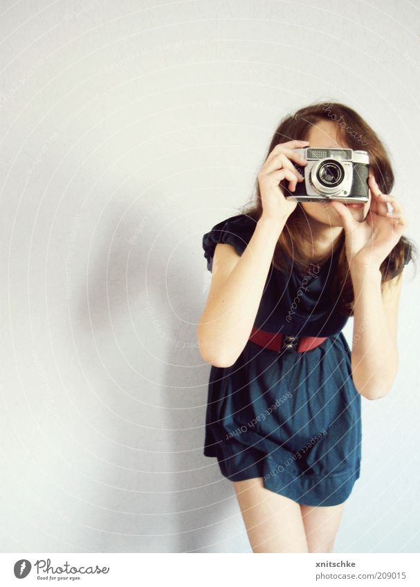 Youth (Young adults) Blue Red Joy Feminine Gray Leisure and hobbies Photography Modern Lifestyle Cloth Dress To hold on Curiosity Camera