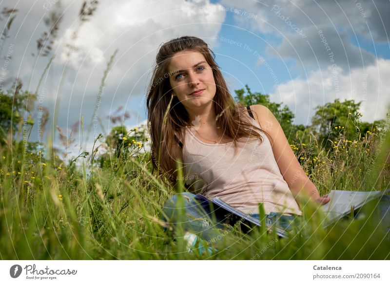 Sky Nature Youth (Young adults) Blue Young woman Summer Beautiful Green White Clouds 18 - 30 years Adults Meadow Feminine Grass Brown