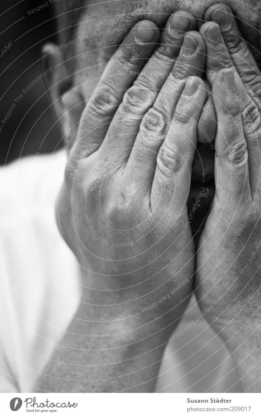 Man Hand Adults Head Masculine Fingers Grief T-shirt Wrinkles Near Pain Hide Distress Cry Shame Close