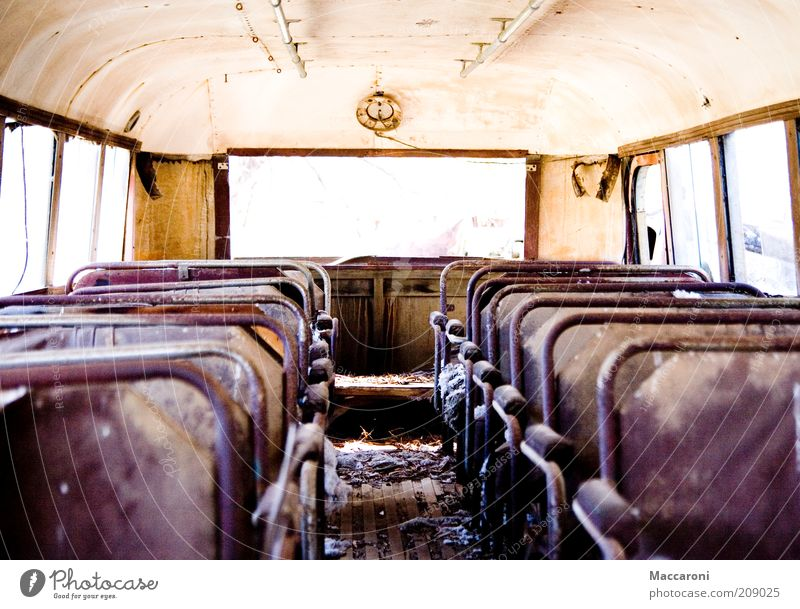 Old Loneliness Far-off places Leisure and hobbies Dirty Empty Trip Broken Blaze Fire Retro Symbols and metaphors Derelict Shabby Window pane Bus