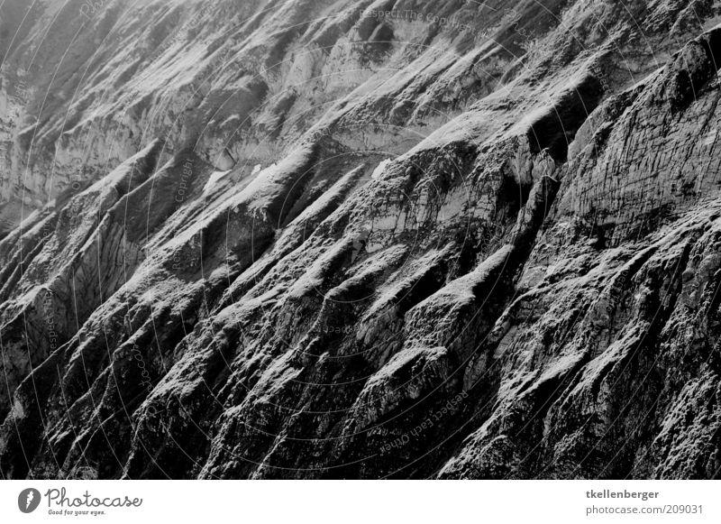 prehistoric rock Elements Earth Rock Alps Mountain Gray Black Slope Black & white photo mountainous Contrast Shadow Shadow play Rocky gorge Alpstein
