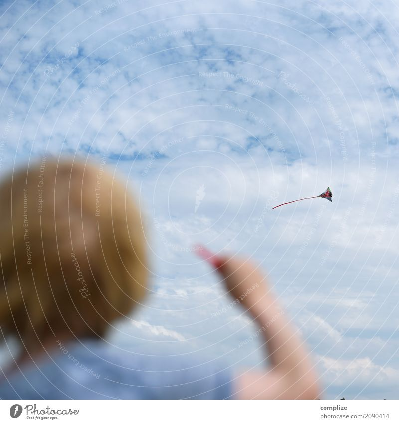 kites Leisure and hobbies Playing Hang gliding Kite Vacation & Travel Schoolchild Child Toddler Boy (child) Family & Relations Back Hand Nature Elements Sky