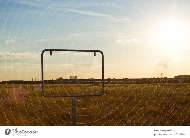 Sky Summer Landscape Far-off places Meadow Berlin Freedom Horizon Metal Signs and labeling Beautiful weather Perspective Airport Frame Airfield Back-light