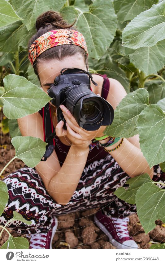 Young woman taking photos in nature Human being Nature Youth (Young adults) Plant Summer Leaf 18 - 30 years Adults Life Environment Lifestyle Autumn Feminine