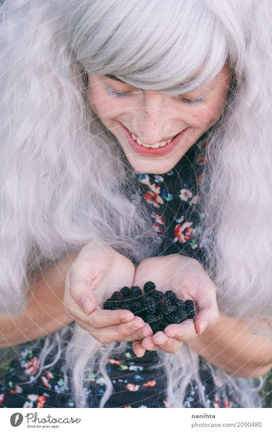 Young woman with blackberries in her hands Human being Youth (Young adults) Beautiful White Joy 18 - 30 years Black Adults Life Lifestyle Funny Healthy Feminine