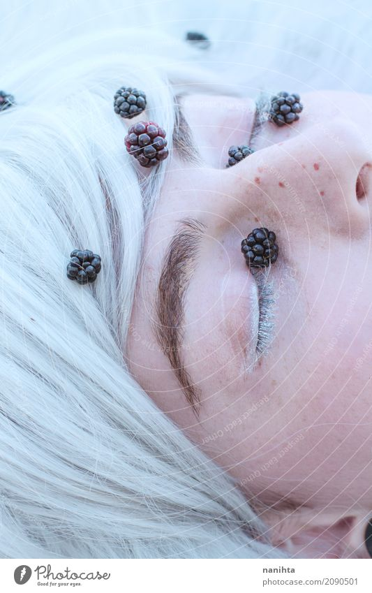 Magical close up of a young woman's closed eyes Food Fruit Blackberry Exotic Beautiful Skin Mascara Freckles Human being Feminine Young woman